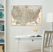 National Geographic USA Map Executive Wall Decal Sticker - 24x36