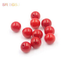 Natural 3A Grade Half Drilled Hole 8mm Round Red Coral Gemstone Beads 10 Pcs