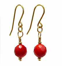9ct Gold Earrings with Genuine Semi-precious Red Coral Gemstone Beads