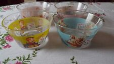 4 Glass Kelloggs Cereal Bowls