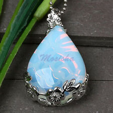 1X Fire Opal Opalite Gemstone Teardrop Bead Pendant Inlaid for Necklace Hot Gift