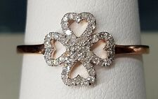 10K Rose Gold Real Diamond Four Leaf Clover Irish Fashion Ladies Ring