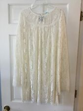 Urban Outfitters Kimchi Blue Cream Long Sleeve Lace Tunic Dress L Large NWT $119