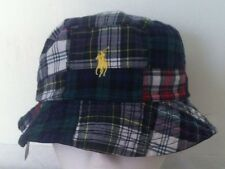 Polo Ralph Lauren Bucket Hat~Navy Blue w/Stripe~Rev~Patchwork Plaid~Sz S/M~NWT