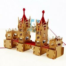 3D Pop Up Cards Creative Greeting Cards Papercraft London Bridge Pattern Red Cov