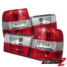 89-95 BMW E34 5-Series Red Clear {GREAT BUY} Tail Lights Lamp Rear Brake Pair
