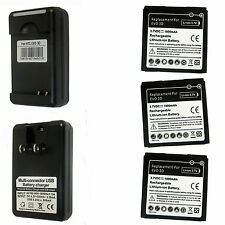 3X New Battery + Charger for HTC EVO 3D EVO V Sensation Sprint 4G G14 G18 G21