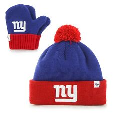 New York Giants - Logo Bam Bam Toddler Pom Pom Beanie Knit Hat and Mitten Set