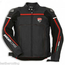 Men Black Ducati Crose 14 Motorcycle Leather Jacket Safety Pads All Size