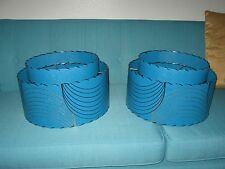 Pair of Mid Century Vintage Style 2 Tier Fiberglass Lamp Shades Atomic  Teal 2