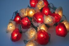 RED WHITE ROSE FLOWERS STRING HOME,INDOOR,BEDROOM,DECOR,FAIRY,GIFT,FLORAL LIGHTS