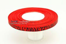 """Free shipping 5YDS 3/8""""Printed Zebra Grosgrain Ribbon red colour"""