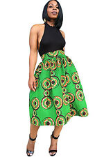 Green African Print A-line Pleated Midi Skirt Size UK S 8-10