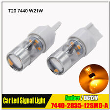 2 x SUPER BRIGHT 2835 T20 7440 W21W WEDGE AMBER ORANGE LED INDICATOR SIGNAL BULB