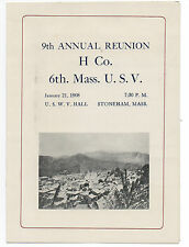 1908 Program from the 9th Annual Reunion H Co 6th Mass Vol. Spanish American War