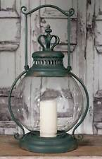 Rustic Primitive Large Crown Candle Holder Lantern Hurricane Glass Antique Green