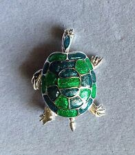 Vintage Silver Tone Tiered Turtle Brooch with Blue and Green Enamel 030917*SALE