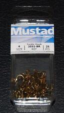 25 Pack Mustad 3551-06 Size 6 Bronze Ringed Style Treble Hook Hooks