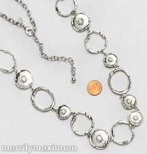 Chico's Signed Necklace Long Silver Tone Chunky Ring Oval Disk Chain Crystals