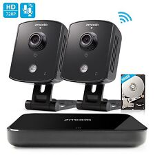 Zmodo 1080p HDMI NVR 2 1.0MP HD Audio WiFi IP Home Security Camera System 500GB