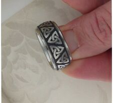 WIDE Titanium Celtic Trinity Knot Wedding Ring Band  Made in the UK Size 9.5