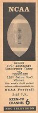 1958 Tv Football Ad~AUBURN TIGERS~TENNESSEE VOLUNTEERS~KCEN in WACO,TEXAS