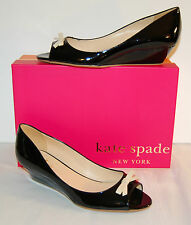 New $275 kate spade New York Tracey Black Patent Leather Wedge Pump Classic 8.5