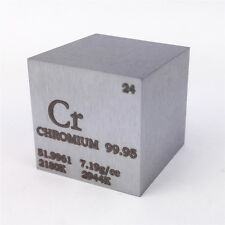 1 inch 25.4mm Chromium Metal Cube 117g 99.95% Marked Periodic Table of Elements
