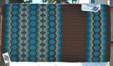 Mayatex Wool Show Saddle Blanket Pad 34x40 Chocolate Brown Teal Turquoise Sand