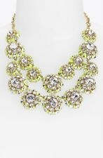 "kate spade bib statement necklace ""hip stitch"" cluster double row neon yellow"
