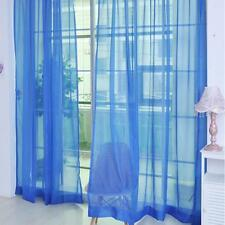 Navy Blue Floral Tulle Voile Door Window Curtain Drape Panel Sheer Scarf New BS