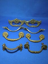 Lot of 8 Assorted Vintage Brass Tone Drawer Cabinet Pulls Handles Art Nouveau