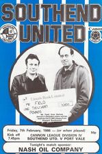 Southend United  V  Port Vale  1986  , Football League  Division  4 ,  Programme