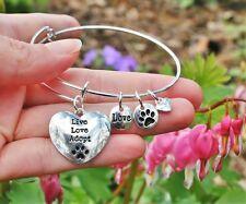 Pet Rescue Expandable Wire Bracelet Sterling Silver Plt Charms Live Love Adopt