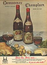 Publicité  Advertising 1953  CRAMOISAY et CHAMPLURE vin fin et velouté