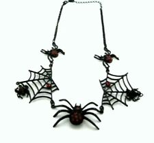 Vintage punk biker style black and red spider and web chandelier chain necklace