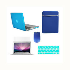 """5 in1 Rubberized AQUA Case for Macbook PRO 15""""+Key Cover+LCD +Sleeve Bag +Mouse"""