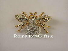 Russian Imperial Empress Marie Bumble Bee Pin Brooch in gold plt with crystals