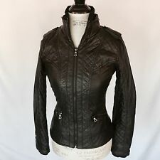 GUESS LOS ANGELES jacket, leather bomber, black, size XS