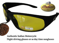 INDIAN Motorcycle Night & Day Driving Sunglasse  Black Wraparound Plastic IN2008