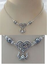 Silver Viking Heart Pendant Necklace Jewelry Handmade NEW Chain Adjustable