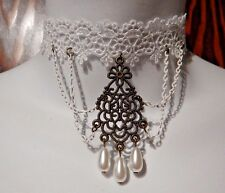 WHITE LACE MANDALA CHOKER bronze filigree teardrop wedding choker necklace J3