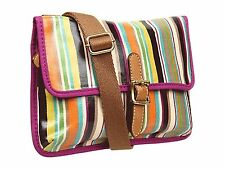 Fossil Key Per Mini Coated Canvas Crossbody (Bright Stripe)