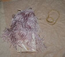 1960's Halina's Doll Fashions of Chicago Pink Fringe Roaring 20's Dress w Pearls