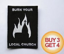 BURN YOUR LOCAL CHURCH W PATCH,BUY3GET4,BLACK METAL,MAYHEM,1BURZUM,EMPEROR,ULVER