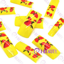 50psc Acrylic False French Nail Art Full Tips IBN1-0009 Yellow Base  Strawberry