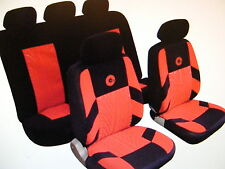 ALFA ROMEO AUDI Universal Car Seat Covers Full Set Red/Black Velour Fabric 14406