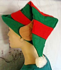 Christmas elf hat with ears adult size fully lined felt with pom pom