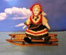 Antique Bisque GERMANY DOLL IN HANDKNIT  WITH HANDMADE SLED FROM NORWAY1899