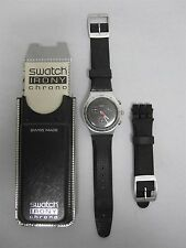 2001 SWATCH IRONY CHRONO YOUR TURN BLACK WATCH ~ W/ CASE, EXTRA BAND & PAPERWORK